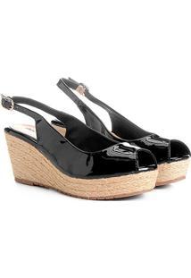 Sandália Anabela Shoestock Verniz Feminina - Feminino-Preto