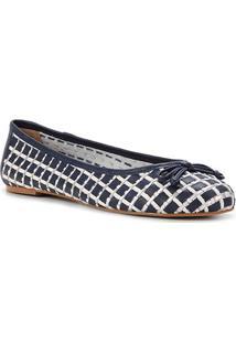 Sapatilha Couro Shoestock Bico Redondo Tressê Feminina - Feminino-Marinho