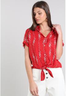 Camisa Feminina Cropped Estampada Com Nó Manga Curta Vermelha