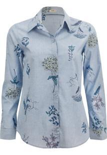 Camisa Intens Manga Longa Algodão Azul