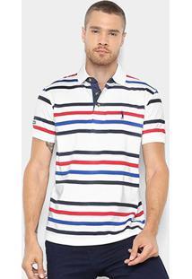 Camisa Polo Aleatory Estampa Listrada Masculina - Masculino-Branco+Marinho
