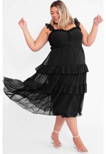 Vestido Almaria Plus Size Tal Qual Midi Chiffon Co