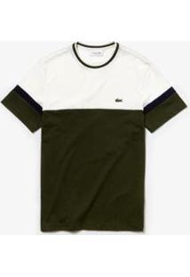 Camiseta Lacoste Masculina - Masculino-Verde Militar+Branco