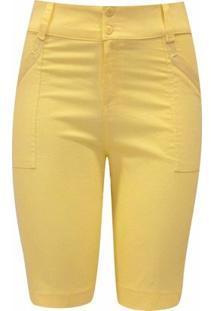 Bermuda Pau A Pique Cadarço - Feminino-Amarelo
