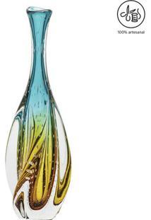 Vaso Em Relevos- Verde Água & Âmbar- 49Xø12Cm- Ccristais São Marcos