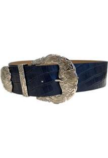 Cinto Cintos Exclusivos Croco Max Fivela Ponteira 6Cm Feminino - Feminino-Azul Escuro