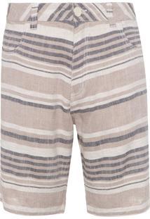 Bermuda Masculina Rustic Linen Striped - Bege