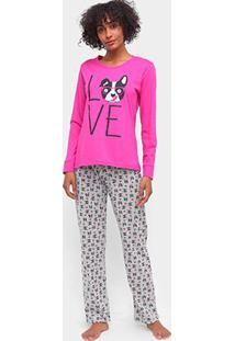 Pijama Three Hands Dog Love Longo Feminino - Feminino-Rosa