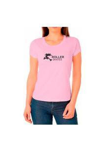 Camiseta Feminina Algodão Skates Confortável Leve Casual Rosa