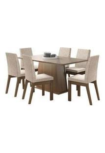 Conjunto Sala De Jantar Madesa Milena Mesa Tampo De Vidro Com 6 Cadeiras Rustic/Crema/Fendi Rustic/Crema/Fendi