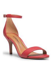 Sandalia Salto Medio Lisa Vermelho