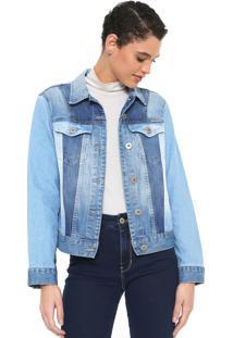 Jaqueta Jeans Colcci Color Block Azul