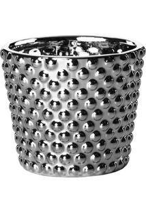 Cachepot Redondo Cerâmica Prata
