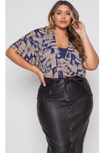 Body Almaria Plus Size Pianeta Estampado Azul Marinho