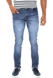Calça Jeans Lacoste Slim Estonada Azul