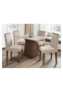 Mesa Jasmin 120 Cm Castanho Off White 04 Cadeiras Ana Castanho Wd22 New Ceval