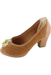 Peep Toe Confort Sapatoweb Matelassê Caramelo