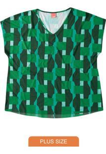 Blusa Verde Decote V Geométrica