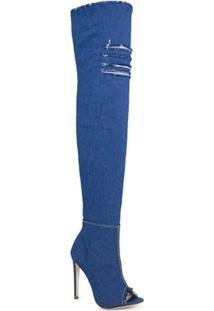 Bota Conceito Fashion Open Boot Jeans Over The Knee Feminina - Feminino
