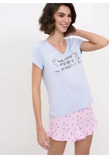 Pijama Manga Curta Com Lettering E Short Poá