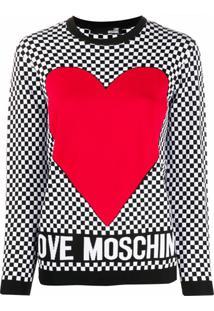 Love Moschino Suéter Decote Careca Com Estampa Xadrez - Preto