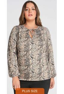 Blusa Plus Size Com Amarração Decote Bege