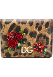 Dolce & Gabbana Carteira Com Aplicação E Animal Print - Marrom