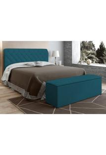 Cabeceira Com Calçadeira Baú Paris Para Colchão Box De 160 Cm Azul Velur Textura - Js Móveis