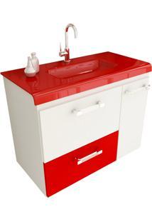 Gabinete Para Banheiro 80 Cm Com 2 Peças Vetro 13 Branco E Vermelho Tomdo