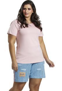 Pijama Recco Viscose Microfibra Rosa - Rosa - Feminino - Dafiti