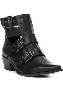 Bota Couro Cano Curto Shoestock Fivelas Recorte Feminina - Feminino-Preto