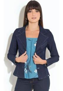 Blazer Quintess Jeans Escuro Com Bolsos Feminino - Feminino-Azul Escuro