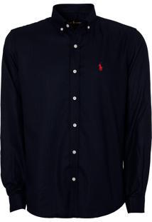 Camisa Ralph Lauren Classic Textur Azul Marinho