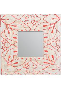 Espelho Com Moldura Floral- Espelhado & Laranja- 24Xdecor Glass