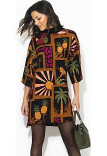 Vestido T-Shirt Colagem Tropical Marrom