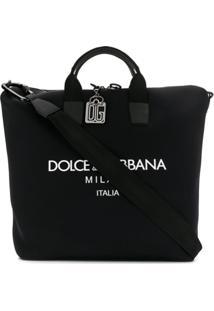 Dolce & Gabbana Bolsa Tote Estampa Com Logo - Preto