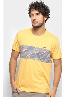 Camiseta Gajang Faixa Camuflada Masculina - Masculino-Amarelo