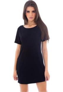 Vestido Camiseta Moda Vicio Feminino - Feminino-Preto