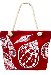 Bolsa De Praia Real Arte Conchas Vermelha