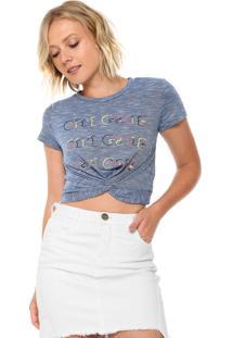 Camiseta Cropped Morena Rosa Nó Azul