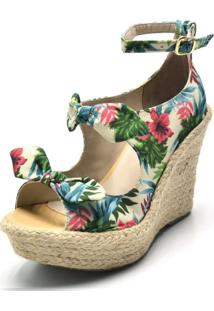 Sandália Anabela Salto Alto Com Laços Em Tecido Floral Branco