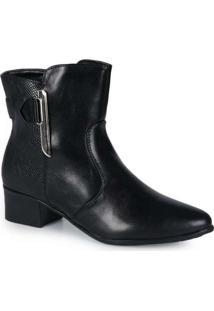 Ankle Boots Feminina Mooncity Texturizada Preto