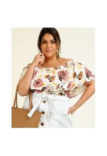 Blusa Ciganinha Plus Size Feminina Floral Marisa