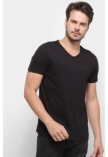Camiseta Colcci Gola V Lisa Masculina - Masculino-Preto