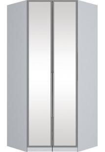 Módulo Para Closet Canto Com Espelho 2 Portas Iluminação Interna Exclusive Henn Branco Fosco