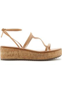 Sandália Flatform Lace-Up Cortiça Honey | Schutz