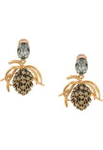 Oscar De La Renta Crystal Embellished Clip-On Earrings - Dourado