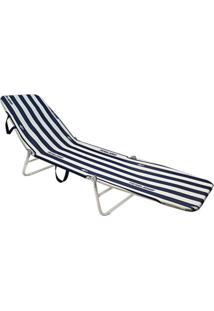 Cadeira Espreguiçadeira Dobrável Mormaii - Listra Azul/Branco - Kanui