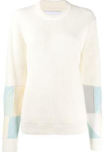 Calvin Klein Jeans Suéter Com Patchwork E Gola Careca - Branco
