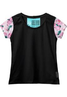 Camiseta Baby Look Feminina Algodão Estampa Flor Estilo Moda - Feminino-Rosa+Preto